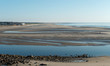 panoramic view of Ogunquit beach, Maine, at early morning low tide