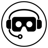 cardboard virtual reality VR glasses and headphone icon logo on