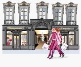 Two young fashionable women shopping