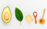 Alternative skin care  and scrub fresh  avocado , leaves ,sea sa - 120233892