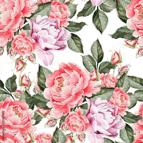 Panel Szklany Watercolor pattern with peony flowers and roses . Illustration