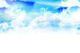 Watercolor illustration of sky with cloud. - 120237810