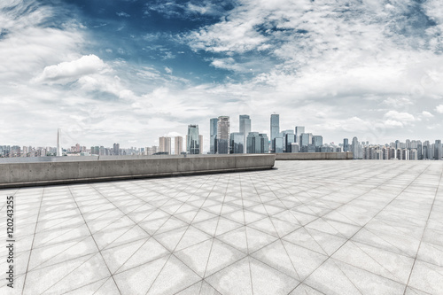 Foto op Canvas Shanghai cityscape and skyline of shanghai from empty brick floor