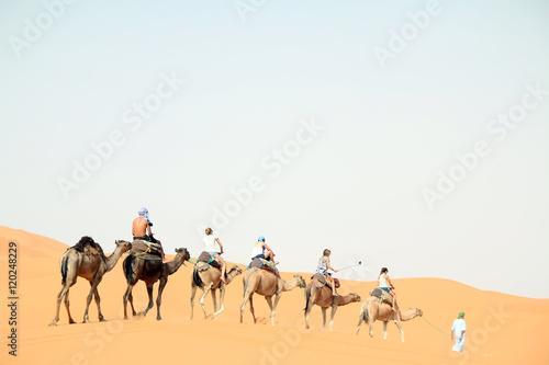 Fotobehang Marokko Caravana de Camelos
