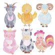 Farm Animals Watercolor Hand-painted  Illustrations Set Isolated on the white Kids Baby