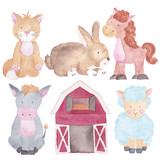 Fototapety Farm Animals Watercolor Hand-painted  Illustrations Set Isolated on the white Kids Baby