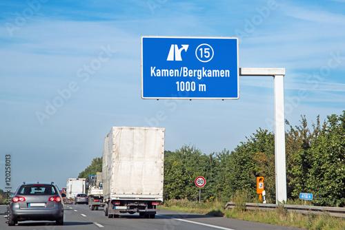 Poster Autobahntafel auf BAB 2, Ausfahrt Nr. 15  Kamen/Bergkamen