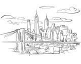 Manhattan and Brooklyn Bridge detailed Sketch