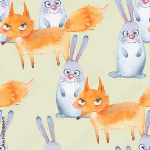 Hare and fox. Seamless pattern. Hand drawn watercolor animals 1 - 120265473