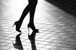 Female legs in fashionable shoes