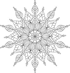 Vector ornate mandala illustration for coloring book