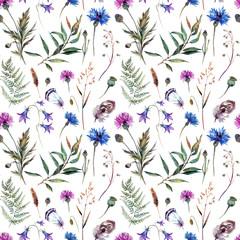 Hand drawn watercolor wildflowers