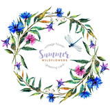 Hand drawn watercolor wildflower wreath