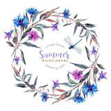 Hand drawn watercolor wildflower wreath