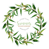 Hand drawn watercolor willow wreath