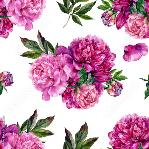 Fototapeta Hand drawn pink peonies bouquet seamless pattern