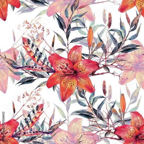 Vintage floral seamless watercolor pattern - 120266632