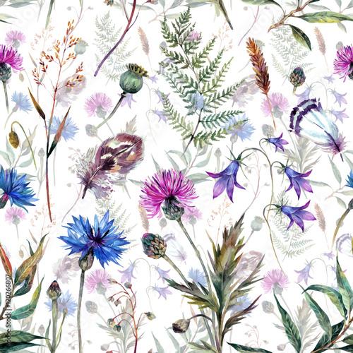 Tapeta Hand drawn watercolor wildflowers