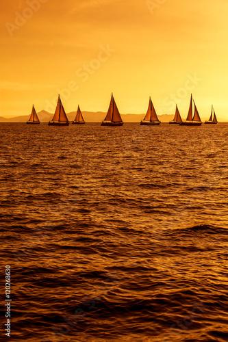 Plexiglas Zeilen żeglowanie na morzu podczas zachodu słońca