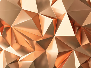 Gold triangle pattern background, 3d rendering