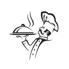 chef image with tray of food in hand