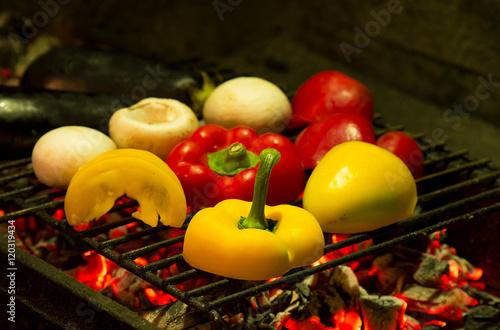 Poster gegrilltes gemüse, vegetarische grillspeise