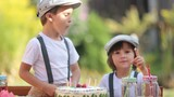 Two adorable children, boy brothers, blowing candles on a cake on birthday party, outdoor