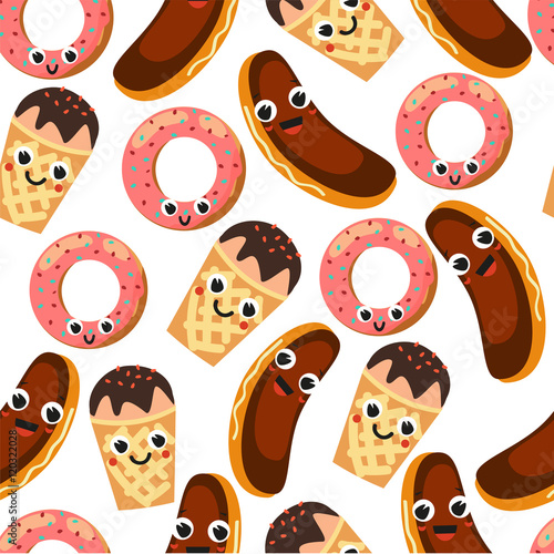 Cotton fabric Seamless pattern with desserts. Donut, cake and ice cream. Sweets on a white background. Fun desserts.