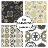 Set of seamless vector patterns, different background with elements of the mechanism of the watch. Graphic illustration. Series of sets of vector seamless patterns.