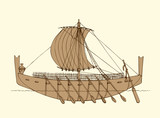 Vector illustration. Ancient Phoenician ship