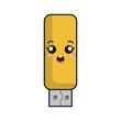usb flash drive. kawaii cartoon smiling. vector illustration