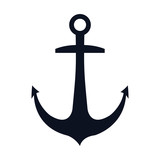 navy metal anchor marine ocean equipment. vector illustration