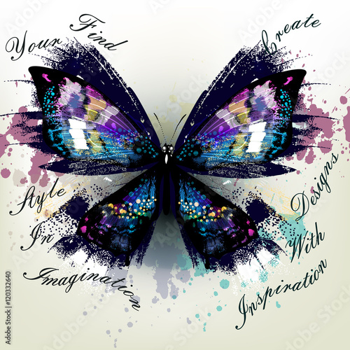 Poster Vlinders in Grunge Vector illustration with detailed butterfly symbol of inspiratio