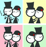 couple comic vector in love