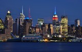 The Manhattan, New York skyline seen at night from Edgewater, New Jersey