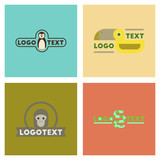assembly flat icons nature logo penguin snake monkey bird