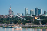 Evening panorama of Warsaw waterfront and downtown skyline