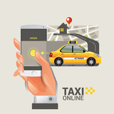 Taxi on line. Taxi sign. Taxi service on smart phone. Mobile app for booking taxi. Vector illustration. Call taxi with smart phone.