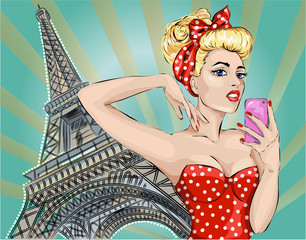 Pin-up sexy woman takes pictures on camera near Eiffel Tower in Paris.