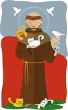 São Francisco de Assis com muitos gatinhos