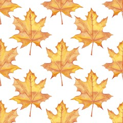 Maple leaves. Watercolor painting. Seamless pattern. Background 2