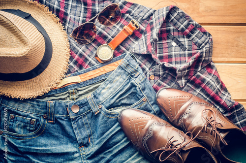 Poszter Accessories and apparel for men on a wooden floor - life style
