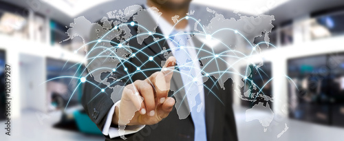 Businessman touching global network and data exchanges '3D ren