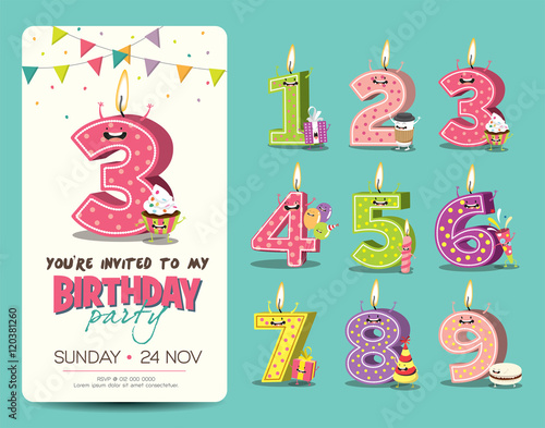 birthday anniversary numbers candle with funny character amp