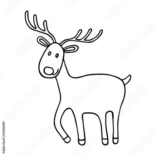 Cartoon Christmas deer icon - 120386419