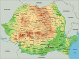 High detailed Romania physical map with labeling. - 120387463