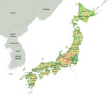 High detailed Japan physical map. - 120388826