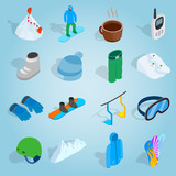 Isometric snowboard icons set. Universal snowboard icons to use for web and mobile UI, set of basic snowboard elements vector illustration
