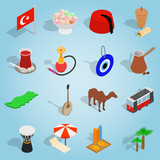 Isometric turkey icons set. Universal turkey icons to use for web and mobile UI, set of basic turkey elements vector illustration