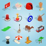 Isometric turkey icons set. Universal turkey icons to use for web and mobile UI, set of basic turkey elements vector illustration